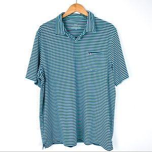 VINEYARD VINES Performance Polo Blue Green Stripe